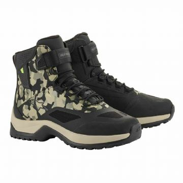 Alpinestars CR-6 Drystar Waterproof Motorcycle Motorbike Shoe Boots Black & Camo